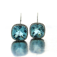 Cushion Checkerboard Blue Topaz Earring