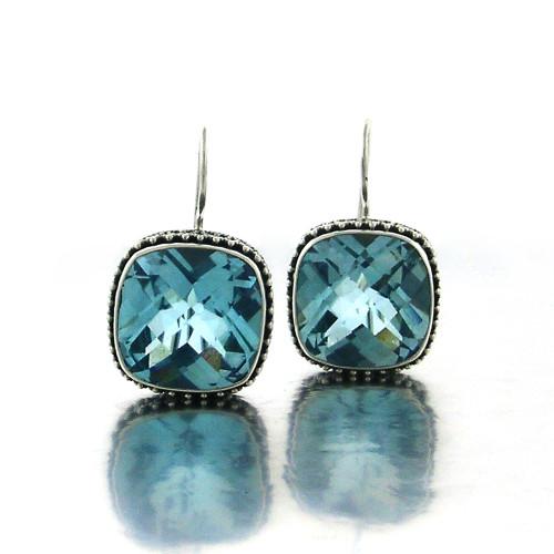 Cushion Checkerboard Blue Topaz Earring