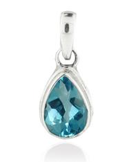 Blue Topaz Teardrop Petite Sterling Silver Pendant