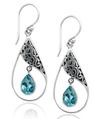 Open Pear Shape Sterling Silver Earring with Blue Topaz Dangle