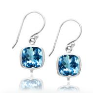 Sterling Silver Square Blue Topaz Drop Double Bezel Earring