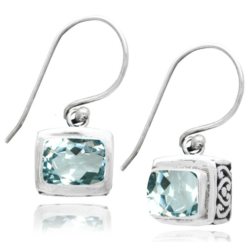 Rectangular Blue Topaz Drop Sterling Silver Earring