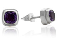 Cushion Amethyst Double Bezel Stud Earring