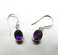 Oval Amethyst Double Bezel Drop Earring