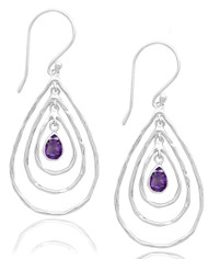 Hammered Open Pear Shapes Earring with Dangling Amethyst