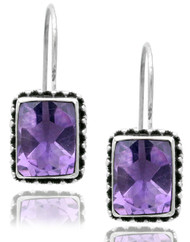 Rectangular Amethyst With Bead Work Earring
