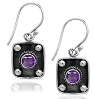 Amethyst Art Deco Chic Drop Earrings
