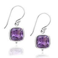 Cushion Amethyst Drop Sterling Silver Earring
