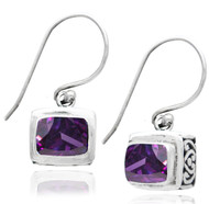 Open Carved Setting Amethyst Rectangle Drop Earring