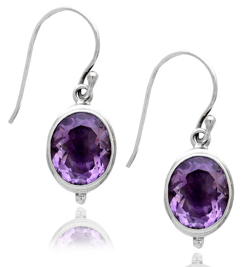 Oval Amethyst Dangling Earring
