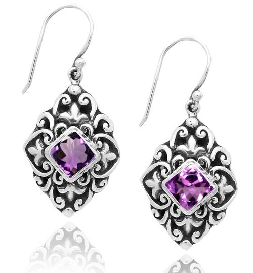 Balinese Design Diamond Shape Drop Sterling Silver Earring With Amethyst