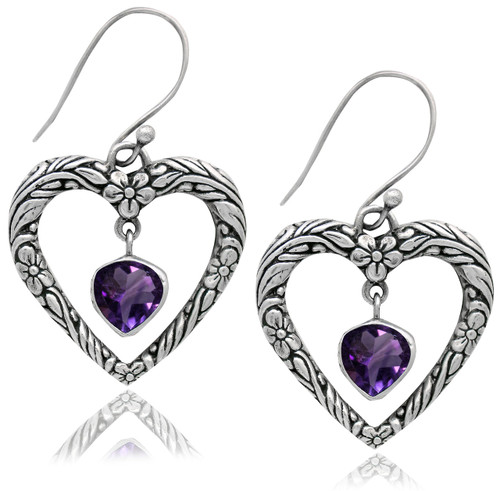 Textured Open Heart Sterling Silver Earring With Amethyst Drop