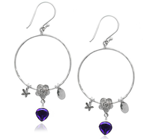 Hammered Open Round Earring With Amethyst Heart and Flower Charms Drop