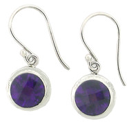 Double Bezel Round Amethyst Drop Earring