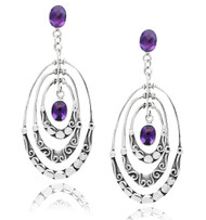 Triple Textured Oval Earring with Amethyst Drop