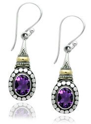 Oval Amethyst Two-Tone Sterling Silver Earring with Dot Outline