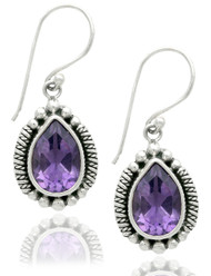 Pear Shape Drop Amethyst Beaded Earring