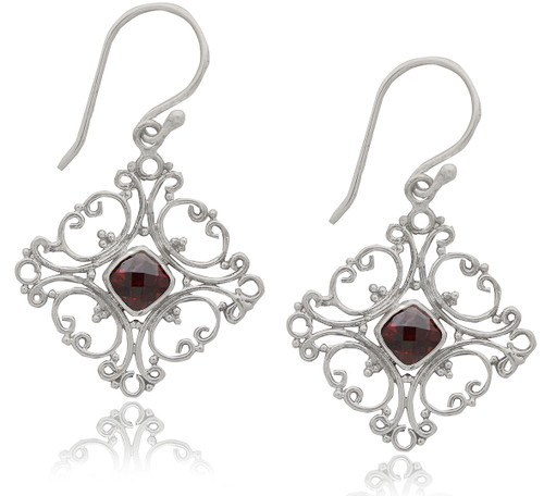 Sterling Silver Garnet Filigree Earrings