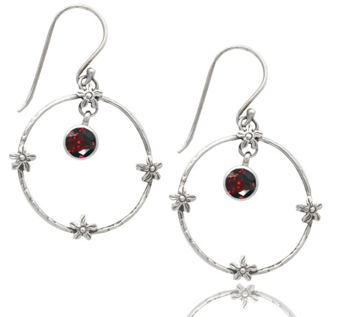 Hammered Open Circle Sterling Silver Earring with Garnet Dangle and Florettes