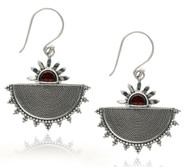 Half Dome Sterling Silver Earring With Garnet