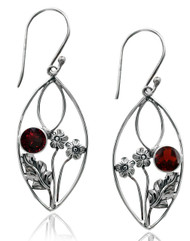 STERLING SILVER ALMOND SHAPE EARRING WITH GARNET AND FLOWER ACCENT