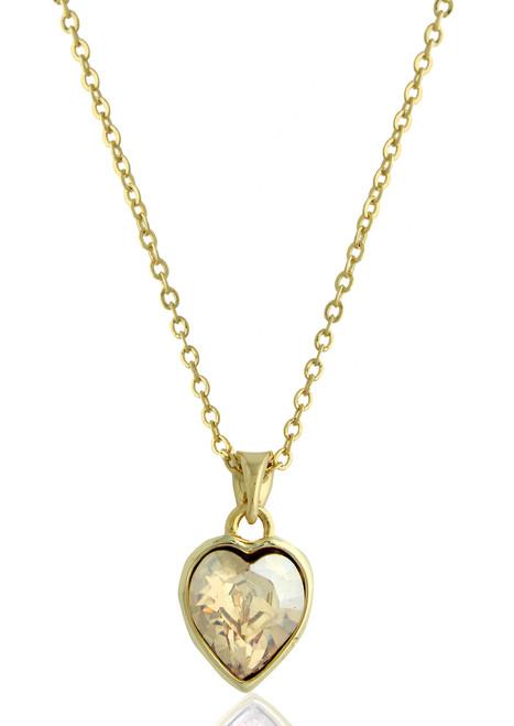 Heart shape rose swarovski crystal necklace in gold plated brass heart shape gold swarovski crystal gold plated necklace aloadofball Choice Image