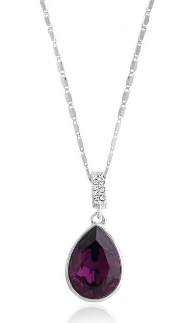 Pear Shape Violet Amethyst Swarovski Crystal Necklace in Brass