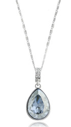 Pear Shape Blue Shade Swarovski Crystal Necklace in Brass