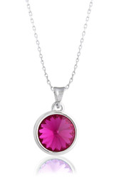 Fuchsia Amethyst Solitaire Swarovski Crystal Necklace in Brass