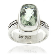 Sterling Silver Green Amethyst Rectangle Cable Ring
