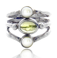 Round Mother of Pearl and Peridot Cabochon Tripe Ring