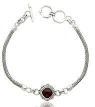 Sterling Silver Square Checkerboard Garnet Center Bracelet