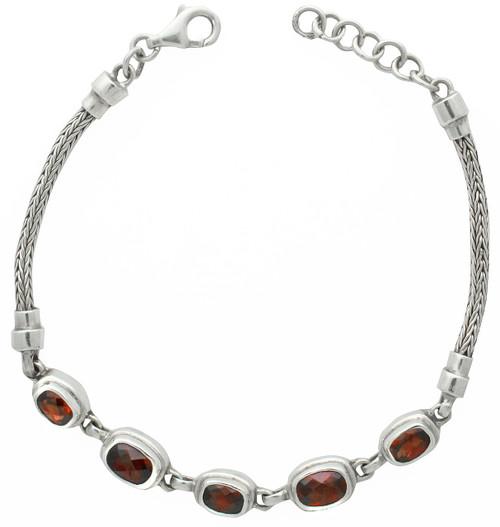 Sterling Silver Garnet Cushion Rectangle Link Bracelet