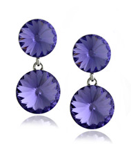 Swarovski Element Amethyst Double Round Drop Earrings