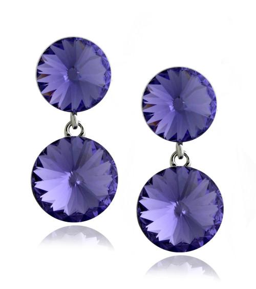 Swarovski Element Amethyst Double Round Drop Earrings