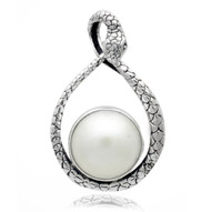 Sterling Silver Snake White Mabe Necklace Pendant