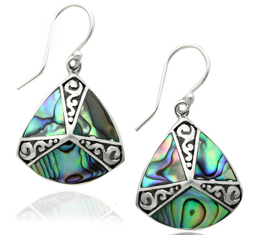 Sterling Silver Trillion Drop Abalone Drop Bali Earrings