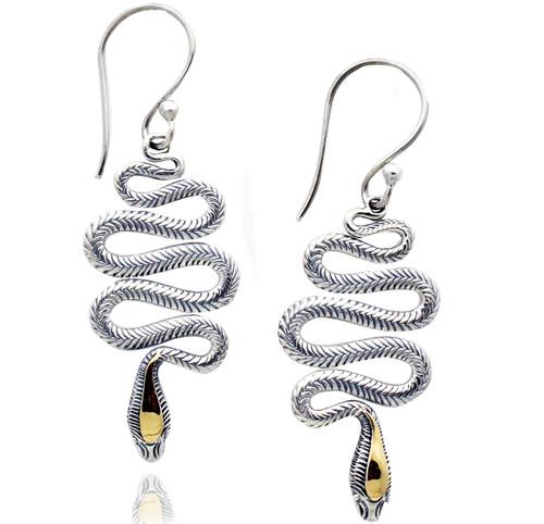 Sterling Silver Swirl Snake Drop Earrings