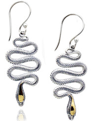 Sterling Silver Swirl Snake Drop Earrings