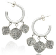 Sterling Silver Charm Hoop Dangle Earrings