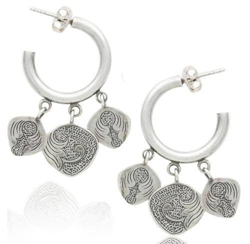Sterling Silver Charm Hoop Dangle Earrings