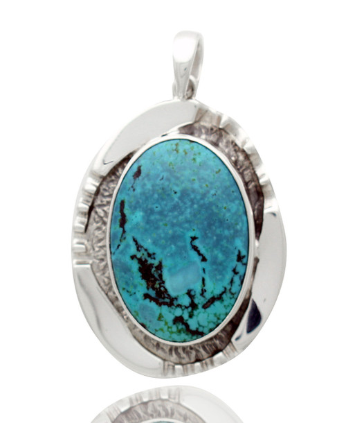 Sterling Silver .925 Turquoise Grooved Pendant
