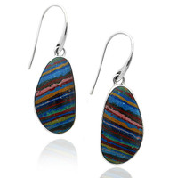 Sterling Silver Free form Rainbow Calsilica Earrings