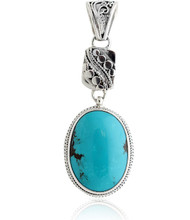 Sterling Silver .925 Turquoise Drop Pendant