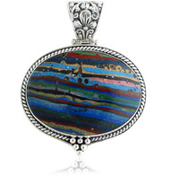Sterling Silver .925 Oval Rainbow Cal-silica Pendant