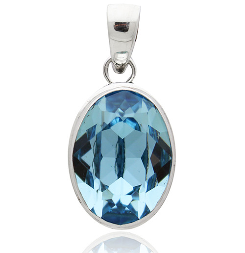Sterling Silver and Swarovski Elements Oval Pendant