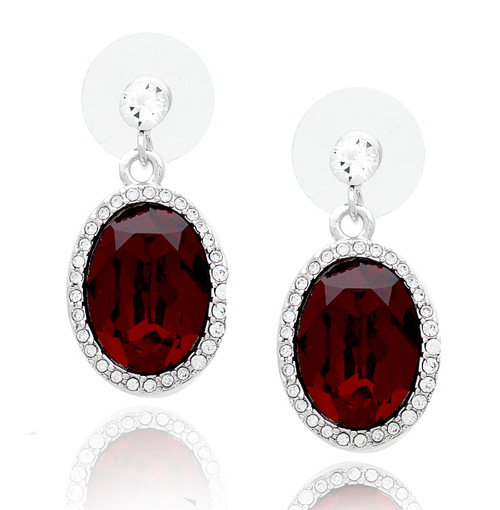 earrings swarovski red elements small drop ruby pave crystal