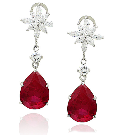 Ruby Pear Shape Clip Earrings