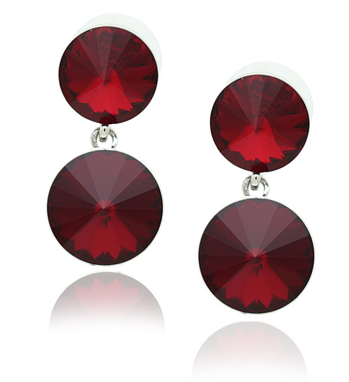 Swarovski Element Ruby Red Double Round Drop Earrings