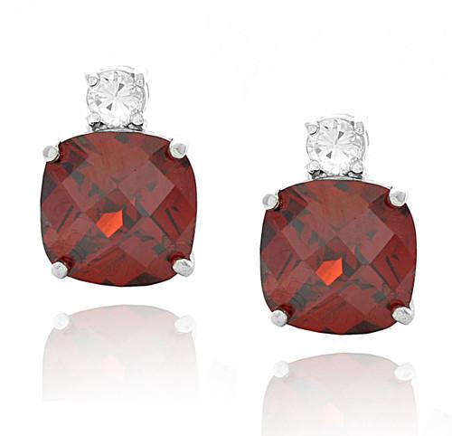 Sterling Silver Cushion Cut Red Ruby Cubic Zirconia Stud Earrings
